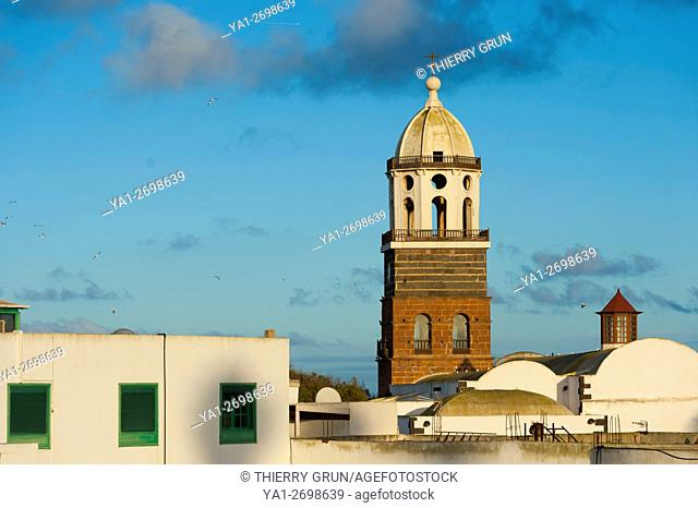 Spain, Canary islands, Lanzarote, Teguise town, bell-tower of Iglesia de Nuestra Senora de Guadalupe