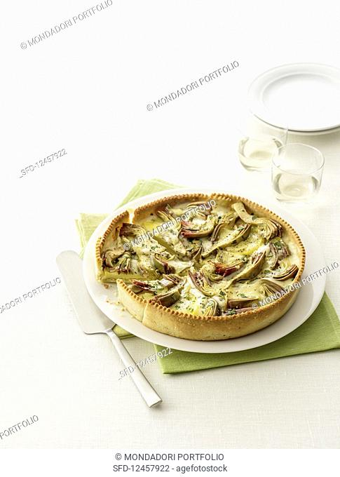Artichoke quiche with cheese (Italy)