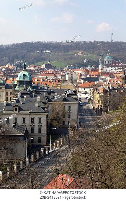 Bird's eye view from Letna Park of Prague's Mala Strana area, Prague, Czech Republic, Europe