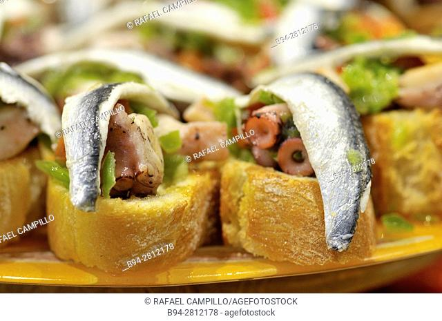 Pintxos or Tapas. Food very Typical in the Basque country. San Sebastián (Donostia), Gipuzkoa, Basque Country, Spain