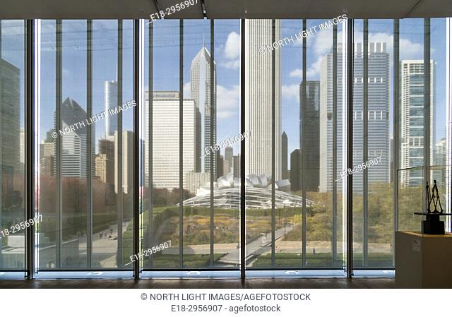 USA, IL, Chicago, Art Institute. View of Chicago skyline from the Art Institute. Preeminent art gallery in the city