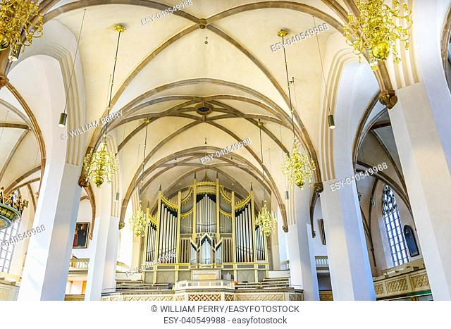 Organ Saint Mary's City Church Stadtkirche Lutherstadt Wittenberg Germany. Martin Luther's church. Founded in 1187, restored in 1900s