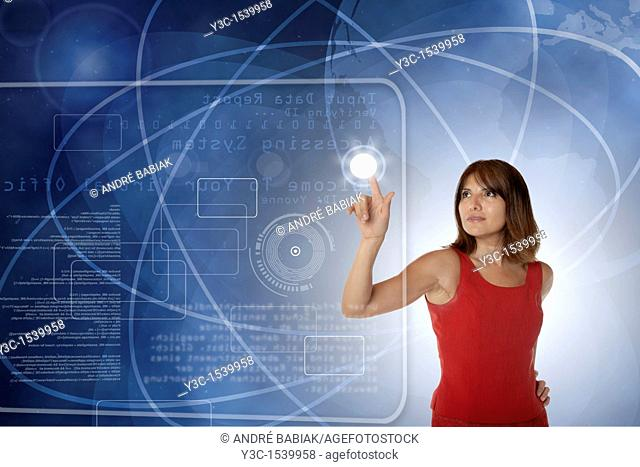 Woman working in virtual office