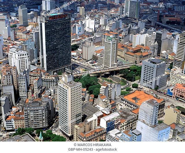 Aerial view, Vale do Anhangabau, Sao Paulo, Brazil