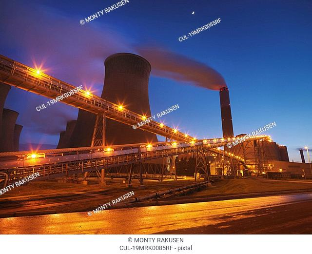 Coal Fired Power Station At Night