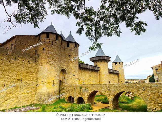 Fortress. Carcassonne medieval city. France, Europe