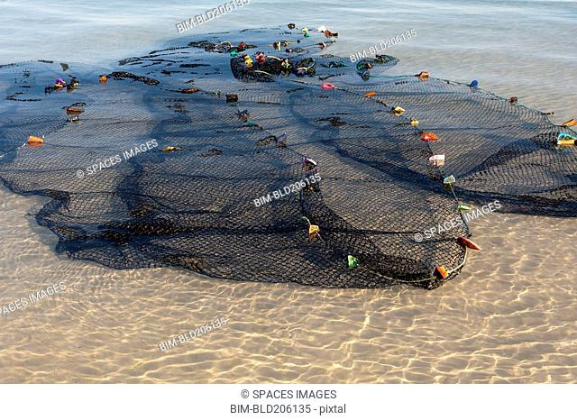 Fishing nets spread out in the shallow water on the shore in Ankasy