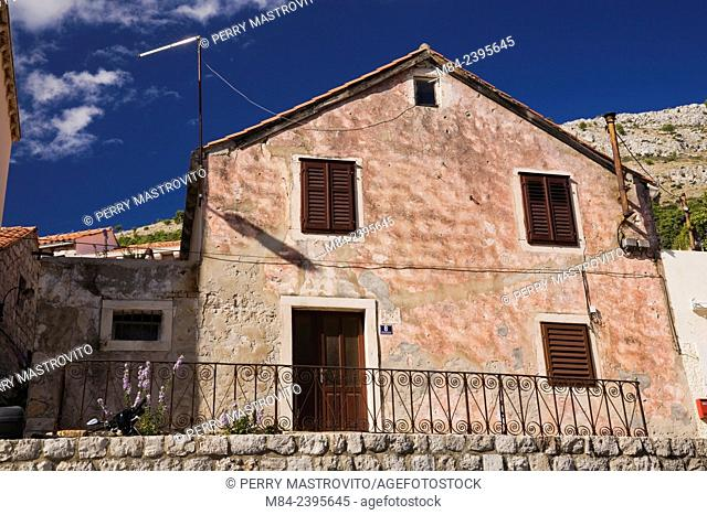 Old architectural cottage style residential home facade, Dubrovnik, Dalmatia region, Croatia, Eastern Europe