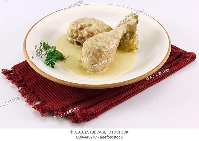 Fricassee chicken in saffron and almond sauce