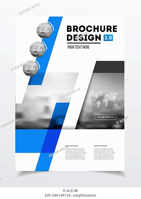 Business Brochure design. Annual report vector illustration template. Flyer corporate cover. Business presentation with photo and geometric graphic elements