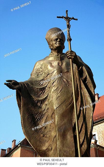 Poland, Cracow, A statue of late Polish Pope John paul II