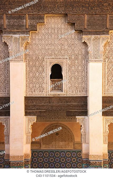 Morocco - Columned arcades in the central courtyard of the Ben Youssef Medersa teaching annexe to the old mosque universities