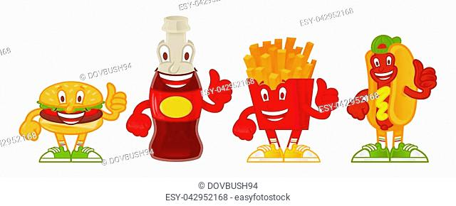 Good set of tasty cute cartoon character street food. Classical hot-dog, french fries in red box, fresh sparkling drink, American fat hamburger Menu for cafe...