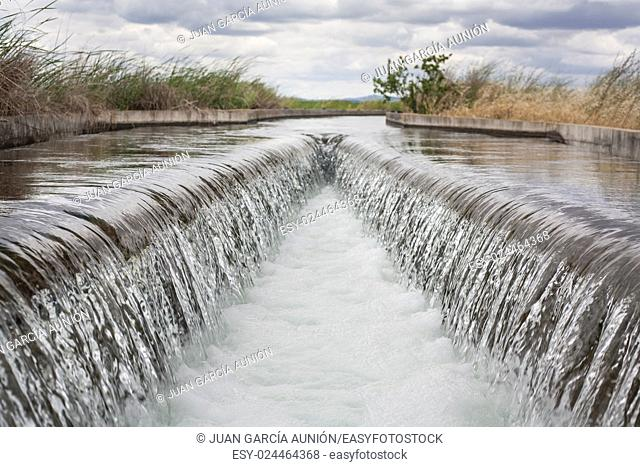 Floodgate area at huge irrigation canal of High Guadiana or Vegas Altas, Extremadura, Spain