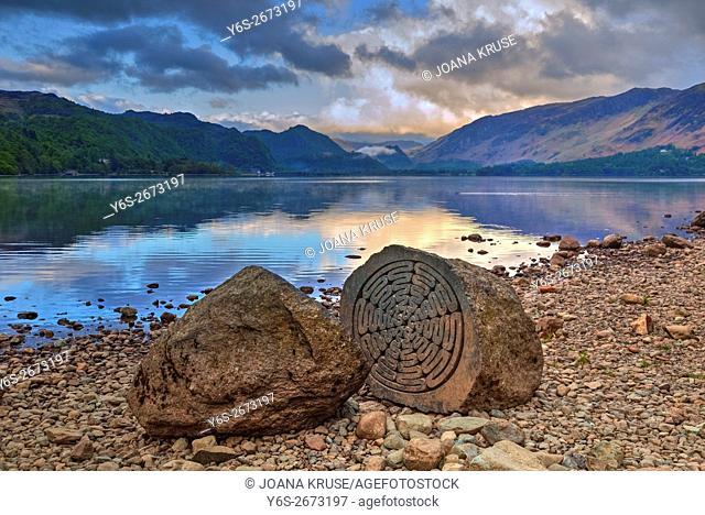 Keswick, Centenary Stone, Derwentwater, Lake District, Cumbria, England, UK