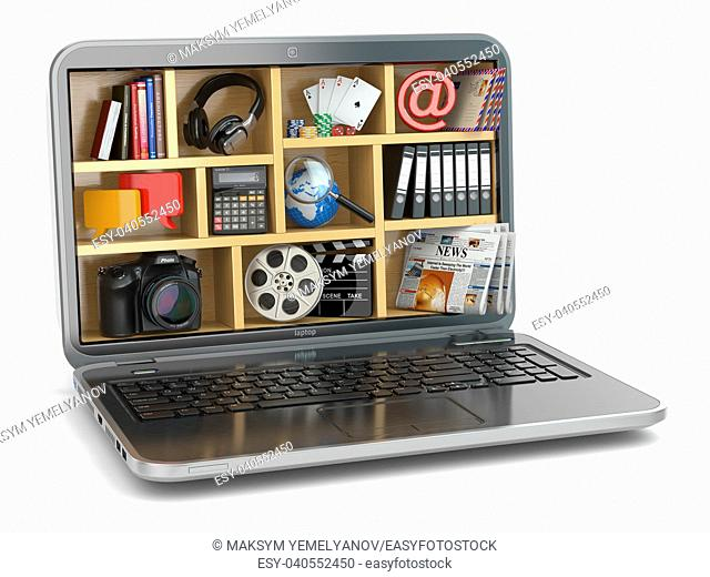 Cloud computing concept. Laptop's software and capabilities. 3d
