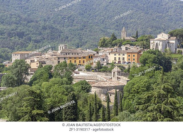 General village view and mountain, medieval and historic village of Besalu, Garrotxa region,Catalonia,Spain