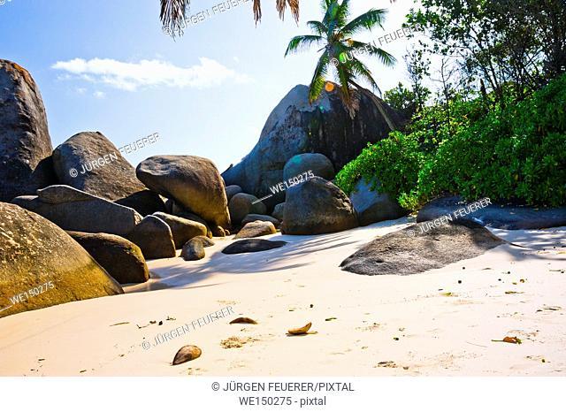 Beach of the Seychelles, Island Mahé, Beach Machabée