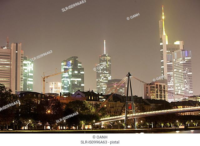 Skyline and Main River at night, Frankfurt, Germnay