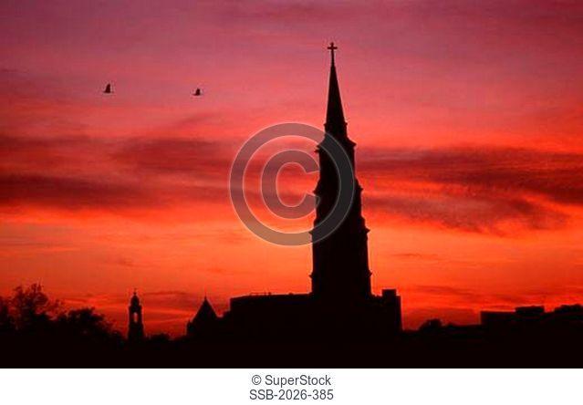 Silhouette of a church at sunset, St. Philip's Church, Charleston, South Carolina, USA