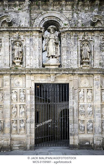 entrance facade detail in landmark cathedral of santiago de compostela old town spain