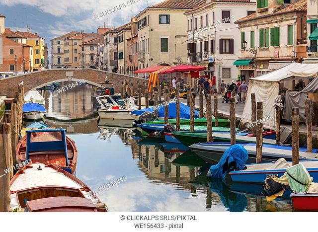 Chioggia. Boats moored in the channel and the local market on the way. Veneto, Venice, Italy