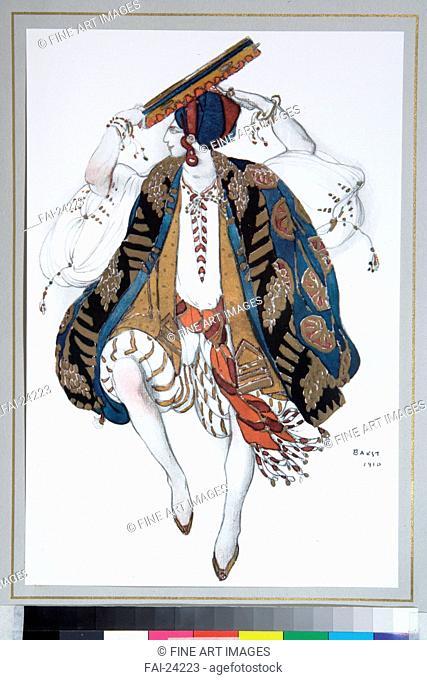Jewish Dance. Costume design for the ballet Cléopatre. Bakst, Léon (1866-1924). Colour lithograph. Theatrical scenic painting. 1910. Russia