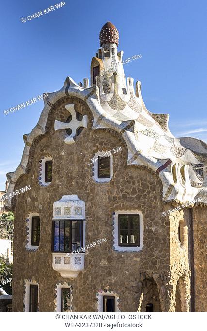 Barcelona - December 2018: Casa del Guarda pavilion at Park Guell