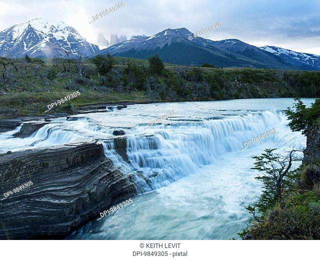 Rio Paine waterfalls, Torres del Paine National Park; Torres del Paine, Magallanes and Antartica Chilena Region, Chile