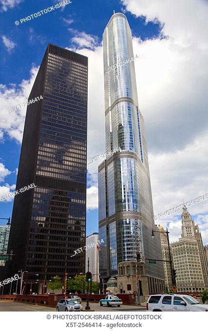 Chicago Illinois, skyline. Trump tower