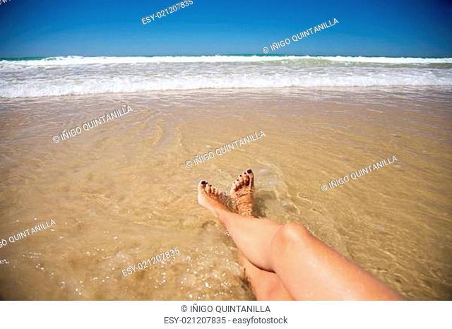 resting legs at Conil beach