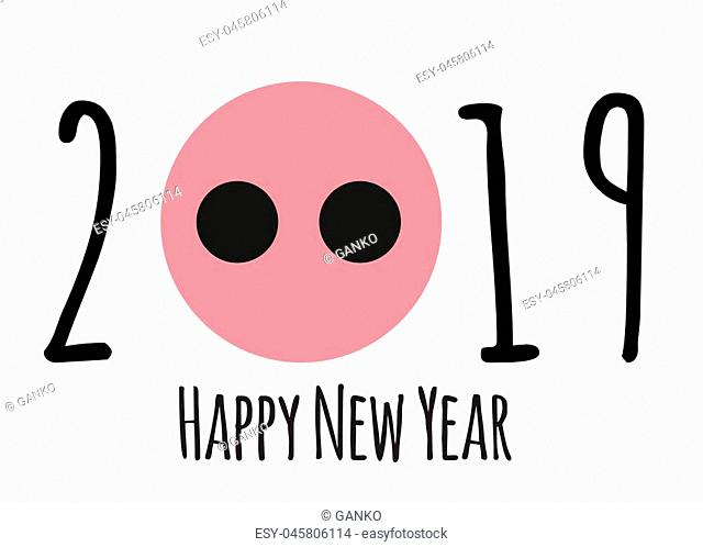 Happy New Year 2019 cute card design with cartoon pig. Vector Illustration EPS10