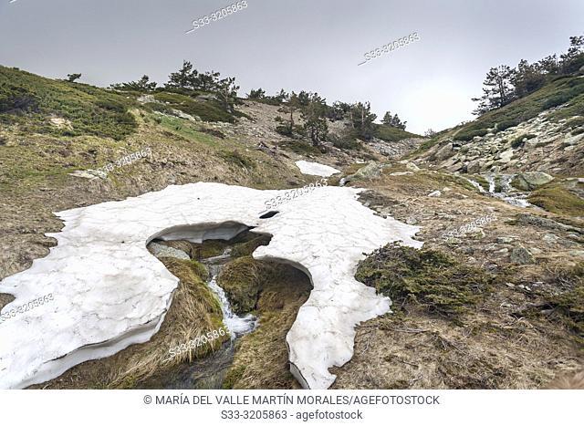 Streams and snow at Penialara National Park on a cloudy day. Sierra de Guadarrama. Madrid. Spain. Europe