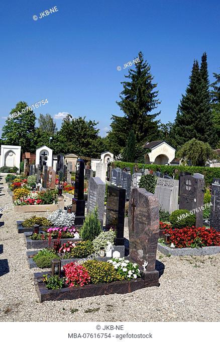 Germany, Bavaria, Upper Bavaria, Altötting, cemetery, graves