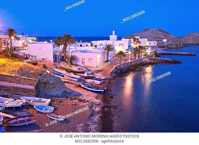 Cabo de Gata, Isleta del Moro, fishing village, Dusk, Cabo de Gata-Nijar Natural Park, Almeria, Spain, Europe