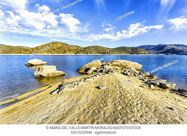 Drought at Burguillo reservoir on a winter sunny morning. Avila. Spain. Europe