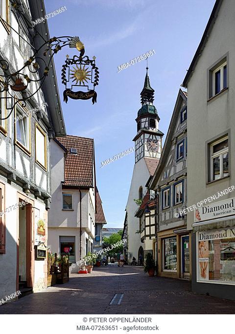 Pedestrian area in the old town of Waiblingen. Kurze Straße with inn Sonne