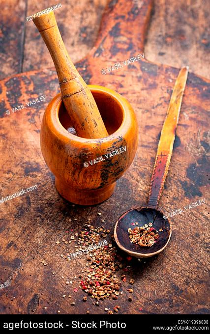 Wooden mortar and spices
