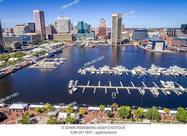 Aerial view of the Inner Harbor and Baltimore skyline featuring World Trade Center Baltimore, Baltimore, Maryland