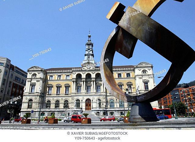 'Variante ovoide de la desocupación de la esfera', sculpture by Jorge Oteiza in front of the Town Hall, Bilbao. Biscay, Basque Country, Spain