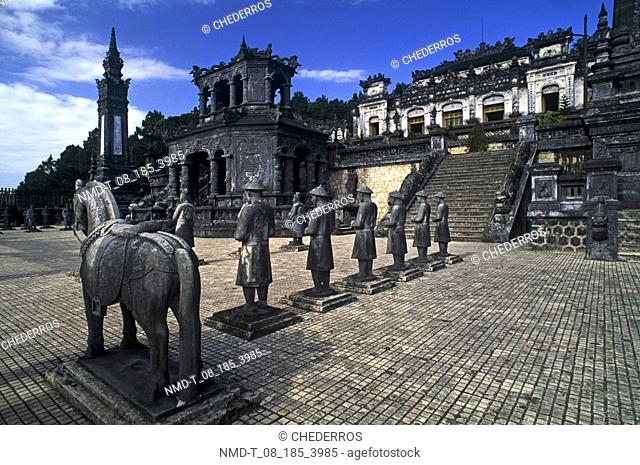 Statues in a row, Khai Dinh Tomb, Hue, Vietnam