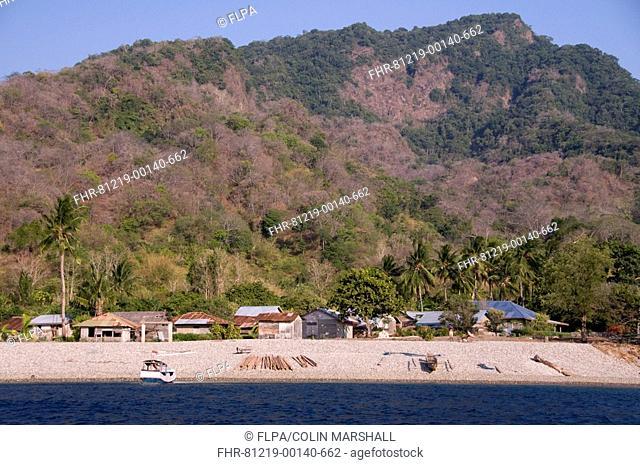 View of beach, shacks and forested hills, Uhak Village, North Wetar Island, Alor Archipelago, Lesser Sunda Islands, Indonesia