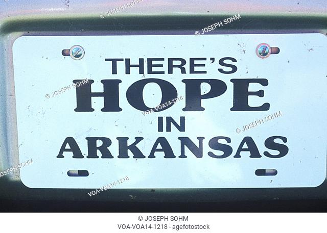 Town sign for city of Hope in Hempstead County, Arkansas