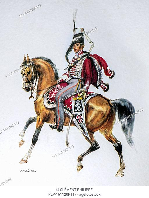 Hussar officer on horseback in uniform of the 1845 Bluchersches Huzaren regiment / Gl. von Blücher, Kingdom of Prussia