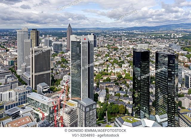 Frankfurt am Main, Hessen, Germany, Europe, The city seen from the platforms of the Main tower, in the foreground the towers of the Deutsche Bank