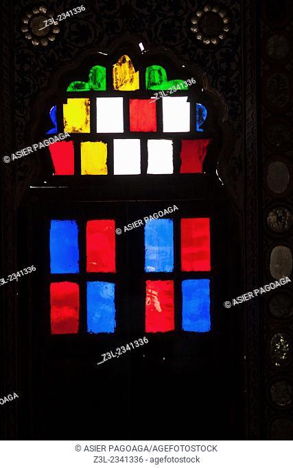 Colourful glass window, Mehrangarh Fort, Jodhpur, Rajasthan, India