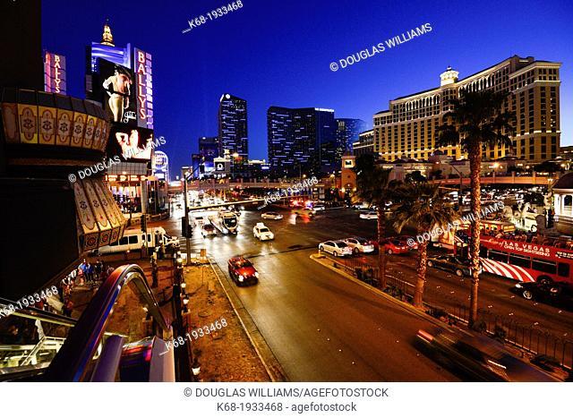traffic at night on the Strip, Las Vegas Boulevard South, Las Vegas, Nevada, USA