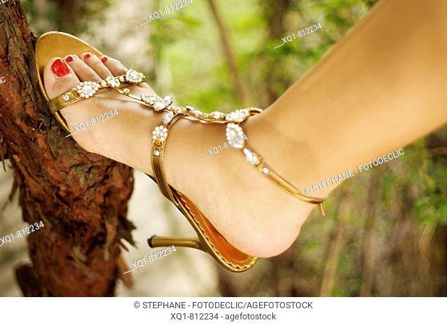 Pie de mujer. Zapato de tacón