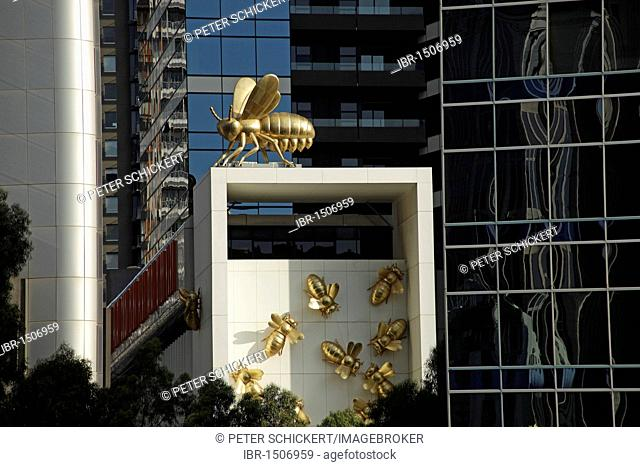 Golden bees and Queen Bee at the Eureka Tower in Melbourne, Victoria, Australia