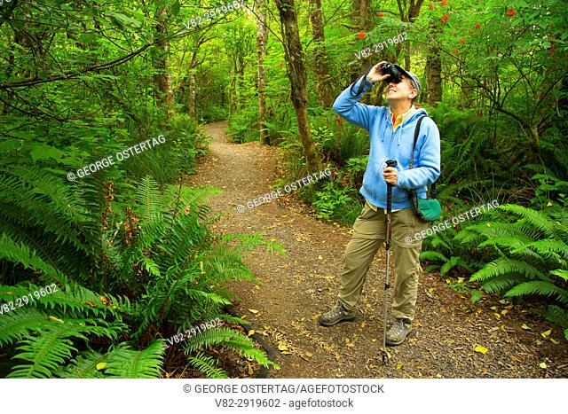 Birding along Pioneer Path Trail, Kilchis Point Reserve, Bay City, Oregon